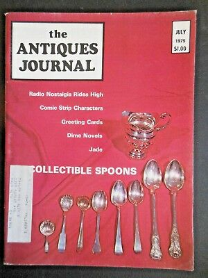 Antiques Journal 1975 Collectible Spoons Greeting Cards Mirren Barrie Dolls Jade