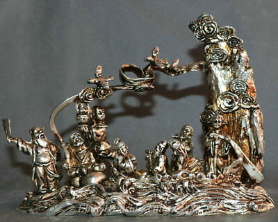 """7"""" Chinese Miao Silver Handmade Taoism Eight 8 Immortals God crossing sea Statue"""