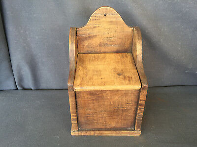 Antique Primitive Wood Salt Box Hinged Lid