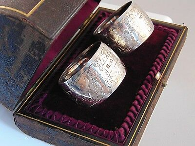 Superb Pair Antique Sterling Silver Cased Napkin Rings 1898 by Walker & Hall