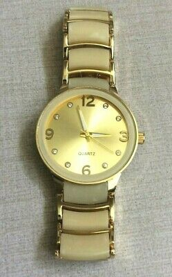 Geneva Women's Watch Round Gold Dial on Beige Tortoise Shell Linked Band New