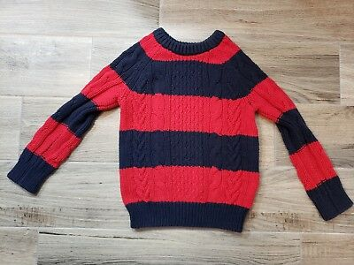 Gap Kids Boys Toddler Boys Cable Knit Sweater Striped Navy Blue Red Nautical