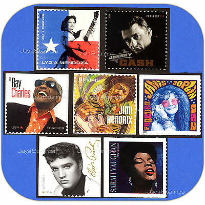 2013-2016  MUSIC ICONS  Johnny Cash Elvis  SET of First 7  MINT  Forever® Stamps