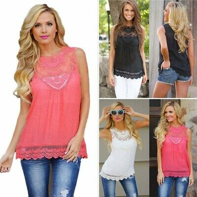 ed908d110 Sexy Womens Summer Vest Tops Tee Hollow Tank Sleeveless Lace T-Shirt Plus  Size