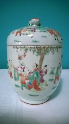 """Antique Vintage Oriental Hand Painted,Enameled  JAR with a LID  4 3/8"""" X 6 3/4"""""""