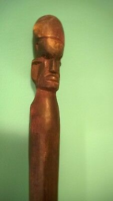 """ANTIQUE AFRICAN HAND CARVED WOODEN WALKING STICK 35 3/4"""", 1.3 lb.."""