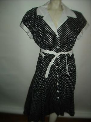 VTG Style 40s 50s Womens XXL Black White Polka Dot Heartbreaker Rockabilly Dress