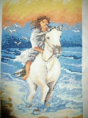 Craft Hand Made Cross Stitch Picture Completed Lady Girl On White Horse