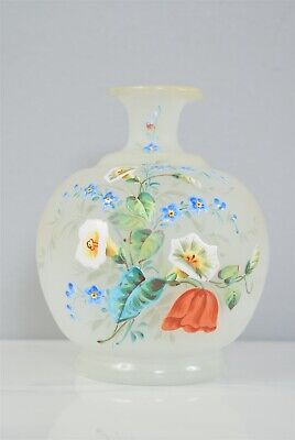 Antique Hand Blown/Decorated Enameled Morning Glory Motif Small Art Glass Vase