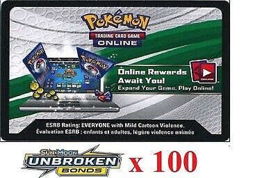100 x Pokemon SM10 Unbroken Bonds Code TCGO Cards TCG Codes