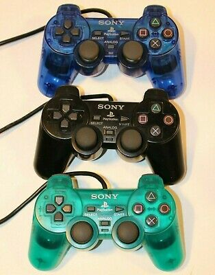 Lot of 3 Official Sony PlayStation 2 PS2 DualShock OEM Controller Blue