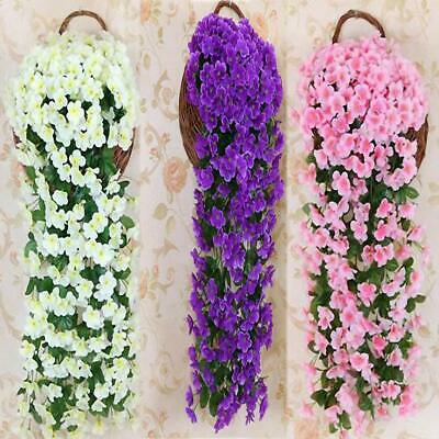Hanging Wall Artificial Fake Silk Violet orchid Flower Rattan Plant Basket Gift