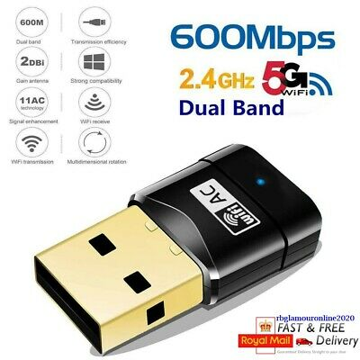 600Mbps Wireless Dual Band USB WiFi Adapter Dongle LAN 802.11ac/a/b/g/n 5/2.4Ghz