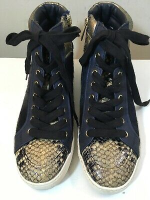 4e21e3288f49 WOMEN S SAM EDELMAN Britt Navy Brahma Calf Hair Sneakers Size 9 ...