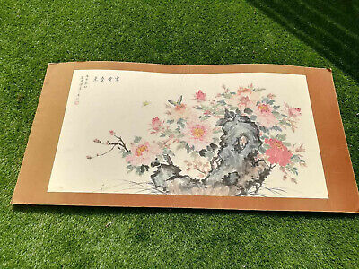Very Large Chinese Ink & Watercolour Flower Hand Painting on Rice Paper - Signed