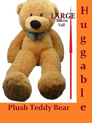 1.2M Giant Huge Stuffed Teddy Bear & Bow Tie Huggable Soft Plush Tan New