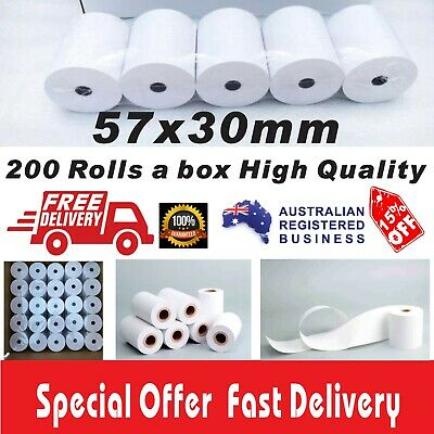 200 Rolls 57x30mm Thermal Paper Rolls EFTPOS Cash Register Receipt High Quality