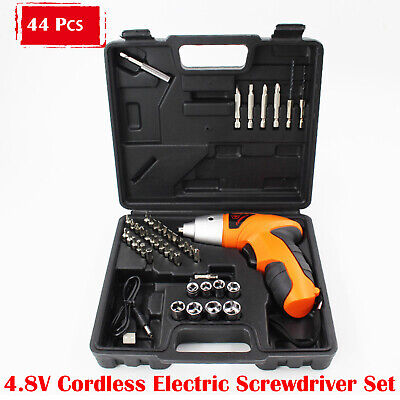 Mini Rechargeable Cordless Electric Screwdriver Drill Power Tool Charger+44 Bits