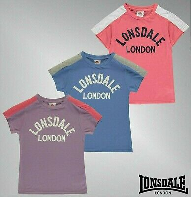 Girls Lonsdale Short Sleeves Casual Top Logo Crew Neck T Shirt Sizes Age 7-13