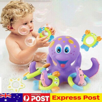 Floating Bath Toys Baby Octopus Kids Infant Toddlers 5 Rings Learn Play Fun AU
