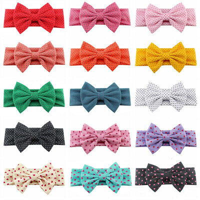 Baby Girl Headband Newborn Toddler Dotted Hairband and Bow Child Hair Accessory