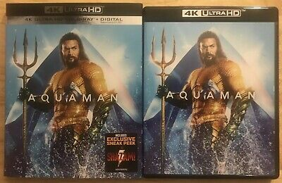 Dc Aquaman 4K Ultra Blu Ray 2 Disc Set + Slipcover Sleeve Free World Wide Shipp