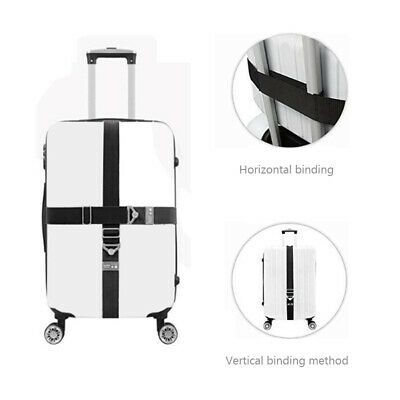 2pcs/set Travel Luggage Suitcase Password Secure Lock Nylon Packing Strap Belt