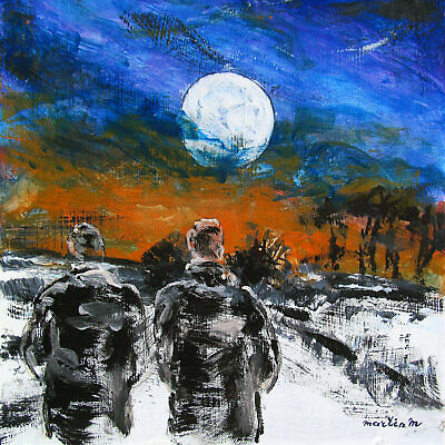 Two men boys figures original art painting male winter landscape gay couple moon