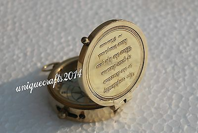 """Nautical Flat Engraved Compass 2"""" Ship Collectible working / Best Gift."""
