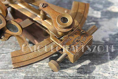 "Engraved Nautical heavy Brass Sextant ~Marine Replica Navy Astrolabe Gift 4""."