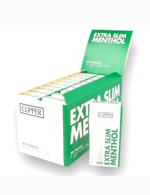 Full Box Of 20 Clipper Extra Slim Menthol Filter Tips Smoking Pre Cut  Not Swan