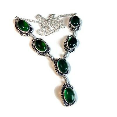 For Women !! Gemstone Green Topaz 925 Sterling Silver Plated Necklace Jewelry