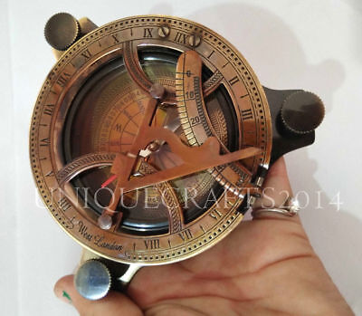 "4"" Antique Nautical Solid Brass Sundial Compass Maritime Directional Compass"