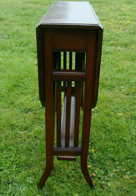 Edwardian Mahogany Sutherland drop leaf gate leg side sofa lamp Pembroke table