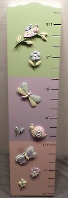 """Wood Hanging Height Chart  23"""" to 5'1"""" 3D Raised Emblems Pastel Baby Shower Gift"""