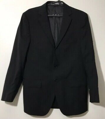 DKNY 38S Mens BLACK WOOL MODERN-FIT 2-BUTTON BLAZER SUIT JACKET SPORT COAT