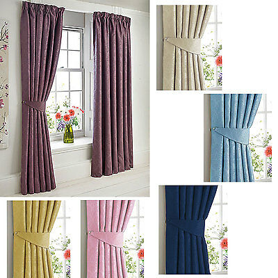 """Woven Dim Out embossed Damask 3"""" tape top pencil pleat Curtains"""