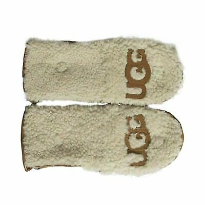 Ugg Curly Pile Flip Chestnut Sheepskin Logo Winter Womens Mittens Size Small New
