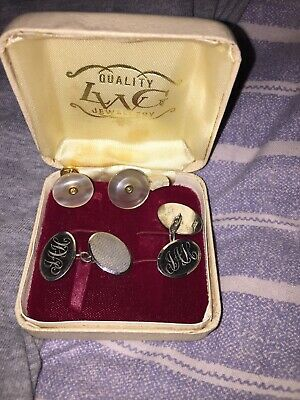 Beautiful  Antique LWG  Silver Engraved Cufflink  Stud Mother Of Pearl Set Boxed