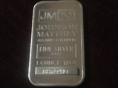 Johnson Matthey .999 Fine 1 oz Silver Bar