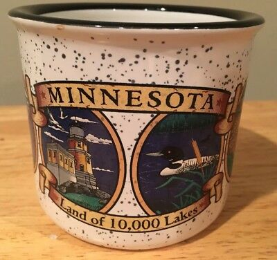 State of MINNESOTA Coffee Mug Twin Cities Ceramic Collector's 10,000 Lakes!