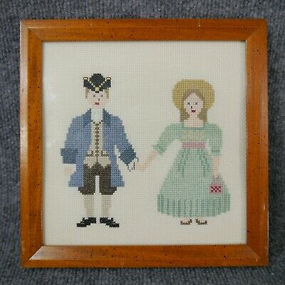Handmade Completed Cross Stitch Needlepoint 'Colonial Couple' Framed 9 x 9 in.