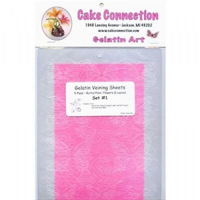 Butterfly and leaf gelatine veining sheets for cake decorating