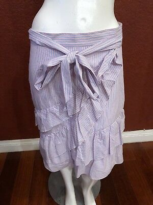 Parker A-Line Tiered Skirt Ribbon Blue/Pink/White Cotton Size M Nwt $188