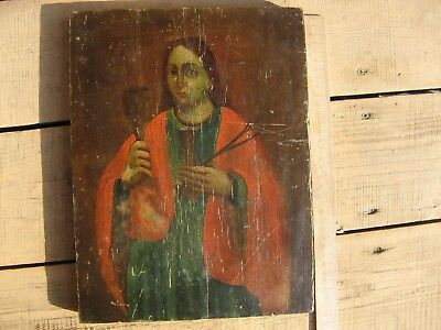 An ancient personal icon of St. Barbara the Great Martyr, Russia 19th century