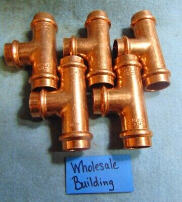 """Nibco Propress Copper Couplings Tee W/Stop 3/4"""" 9098401Pc, Epdm Seals *Lot Of 5*"""