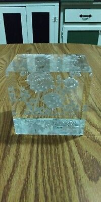 Vintage Extra Large Lucite Paperweight Reverse Carved ~White Roses~ Large