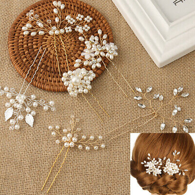 Wedding Crystal Pearl Hair Pin  Bridal Clips Bridesmaid Tiara Hairpins