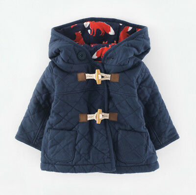 Mini Boden Navy Blue Quilted Duffle Coat Jacket Fox Print