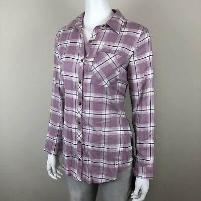 Angels Button Down Shirt Size S Small Womens Plaid Flannel Long Sleeve Tunic Top